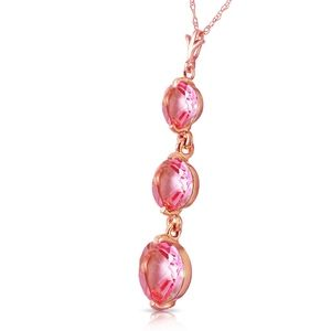14K. SOLID GOLD NECKLACE WITH NATURAL PINK TOPAZ